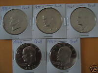 1973 1978 S PROOF EISENHOWER CLAD DOLLARS 5 CAMEO COINS   A