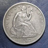 1857 SEATED LIBERTY HALF DOLLAR 50 CENTS   SEMI KEY DATE  2772