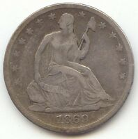 1869 S SEATED LIBERTY HALF DOLLAR VF