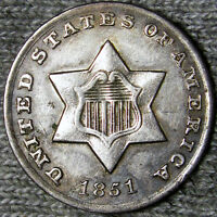 1851 O SILVER THREE CENT PIECE TYPE COIN                 K264