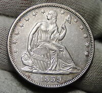 1859 SEATED LIBERTY HALF DOLLAR 50 CENTS   KEY DATE ONLY 747,200 MINTED. 3349