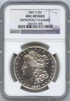 1887-S MORGAN $1 NGC UNC DETAILS, IMPROPERLY CLEANED