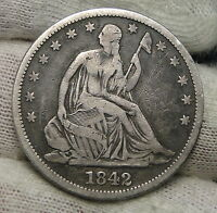 1842 SEATED LIBERTY HALF DOLLAR 50 CENTS. NICE COIN  4081