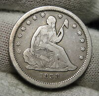 1838 SEATED LIBERTY QUARTER 25 CENTS     KEY DATE ONLY 466,000 MINTED 3255