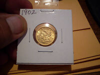 1902 2 1/2 DOLLAR QUARTER EAGLE GOLD COIN  MINT STATE