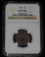 1871 US TWO CENT PIECE - NGC MINT STATE 64BN / MUST SEE PICTURES 2C -102