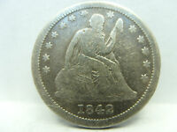 1842 O SEATED LIBERTY QUARTER LARGE DATE NO MOTTO  F   LOW MINTAGE   FINE