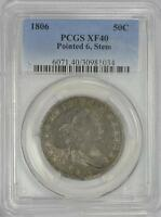 1806 50C POINTED 6, STEM DRAPED BUST HALF DOLLAR - TYPE 2 LARGE EAGLE. PCGS EXTRA FINE 40