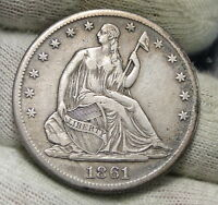 1861S SEATED LIBERTY HALF DOLLAR 50 CENTS   KEY DATE ONLY 939,500 MINTED 3952