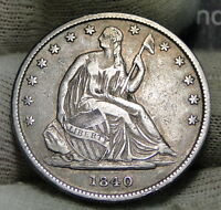 1840 O SEATED LIBERTY HALF DOLLAR 50 CENTS. KEY DATE ONLY 855,100 MINTED 3944