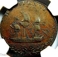 NGC AU55 CERTIFIED 1790'S GREAT BRITAIN SAILING SHIP HALFPENNY SKU HP8