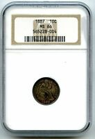1887 SEATED LIBERTY SILVER DIME NGC MS66  HUCKY