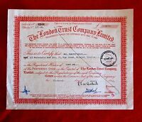 LONDON TRUST COMPANY LIMITED STOCK CERTIFICATE UNITED KINGDOM COMPANY 1970 T7U