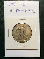 1943-D WALKING LIBERTY SILVER HALF DOLLAR  YOU GRADE IT  AS PICTURED YU-042