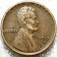 1915 D LINCOLN WHEAT CENT.  FINE DETAILS. J17  BOLD DATE/MM  FREE SHIP.