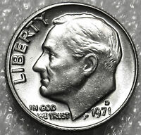 1971 D ROOSEVELT DIME. UNCIRCULATED BRILLIANT LUSTER. STRONG DETAILS. J39