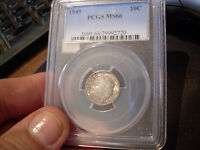 1949 P  PCGS ROOSEVELT DIME  MINT STATE 66
