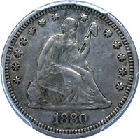 1880 SEATED QUARTER   CHOICE ORIGINAL EVEN GUN METAL TONING    PCGS EF40