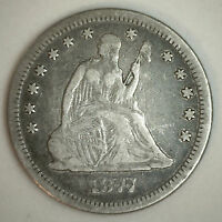 1877 CC SILVER SEATED LIBERTY QUARTER US TYPE COIN FINE VF CARSON CITY