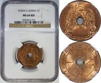 FRENCH INDO CHINA 1 CENT 1939A NGC MS64RD RED GEM