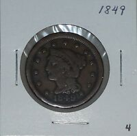 1849 1C BRAIDED HAIR LARGE CENT CHOICE      4