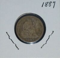 1887 SILVER SEATED LIBERTY DIME   1