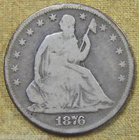 1876 S SEATED LIBERTY HALF DOLLAR   GOOD