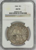 1844 $1 LIBERTY SEATED DOLLAR   TYPE 3 NO MOTTO   NGC AU55