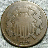 1871 TWO CENT PIECE 2CP REVERSE DING     LOW MINTAGE     P013
