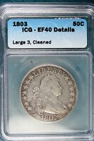 1803 ICG EF40 DETAILS LARGE 3 CLEANED SILVER DRAPED BUST HALF DOLLAR QT