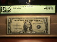 1935G $1 NO MOTTO STAR NOTE SILVER CERTIFICATE FR. 1616 PCGS CHOICE NEW 63PPQ.