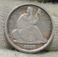 1838 O  SEATED LIBERTY DIME 10 CENTS NO STARS  NICE COIN  3962