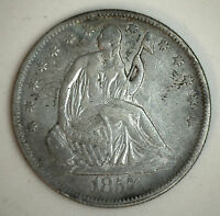 1857 SEATED LIBERTY HALF DOLLAR SILVER US TYPE COIN EXTRA FINE XF