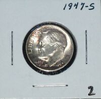 1947 S SILVER ROOSEVELT DIME BRILLIANT CHOICE BU  LUSTROUS AND CLEAN   2