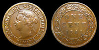 1891 CANADA 1 ONE LARGE CENT QUEEN VICTORIA SDSL OBV 3 LACQUERED F 15
