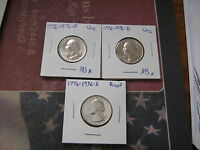 1776 1976 PDS PROOF & UNC. WASHINGTON QUARTERS 3 BICENTENNIAL COINS A21