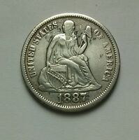 1887 SEATED LIBERTY DIME  CLEANED COLLECTIBLE SILVER COIN