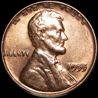 1955/55 DOUBLED DIE LINCOLN WHEAT CENT PENNY DOUBLE DIE OBVERSE GEM BU RED X199