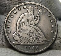 1866 SEATED LIBERTY HALF DOLLAR. 50 CENTS   KEY DATE 744.900 MINTED 4880