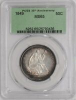1849 SEATED LIBERTY HALF 50C MS65 30TH ANNIVERSARY HOLDER PCGS
