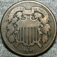 1871 TWO CENT PIECE 2CP  ---- LOW MINTAGE TYPE COIN ---- H255