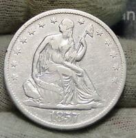 1857 O SEATED LIBERTY HALF DOLLAR 50 CENTS. KEY DATE 818,000 MINTED 3976