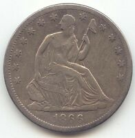 1866 S WITH MOTTO SEATED LIBERTY HALF DOLLAR XF DETAILS