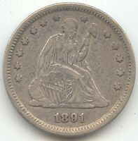 1891 SEATED LIBERTY QUARTER VF XF DETAILS DESIRABLE LAST YEAR OF ISSUE