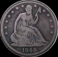 1849 SEATED HALF DOLLAR WB 102 DOUBLE DATE SELDOM OFFERED KEY VARIETY   VG