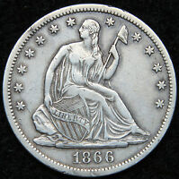 1866S SEATED LIBERTY HALF DOLLAR 50 CENTS. KEY DATE ONLY 994,000 MINTED 5001