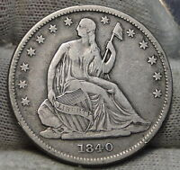 1840 SEATED LIBERTY HALF DOLLAR 50 CENTS. NICE COIN  4863