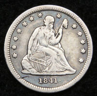 1841 SEATED LIBERTY QUARTER 25 CENTS    KEY DATE ONLY 120,000 MINTED. 4928