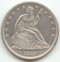 1840 SEATED LIBERTY HALF DOLLAR SHARP AU UNC DETAILS