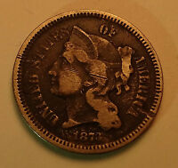 1873 3 CENT NICKEL COIN   GOOD DETAILS THREE CENT